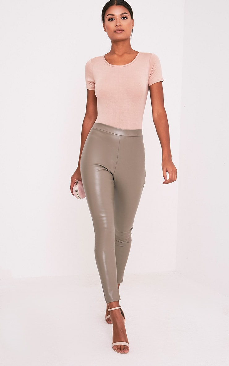 4229aa631 Taryn Taupe Faux Leather Leggings - Leggings   Hosiery ...