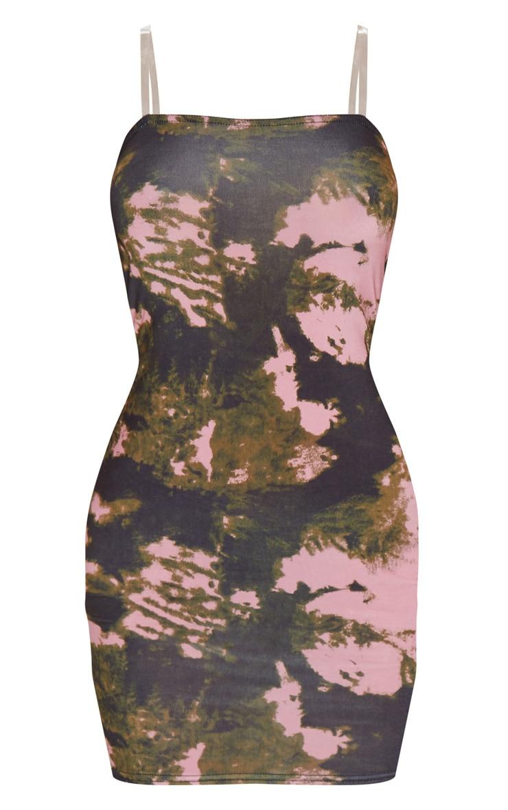 Multi Tie Dye Slinky Clear Strap Bodycon Dress 5