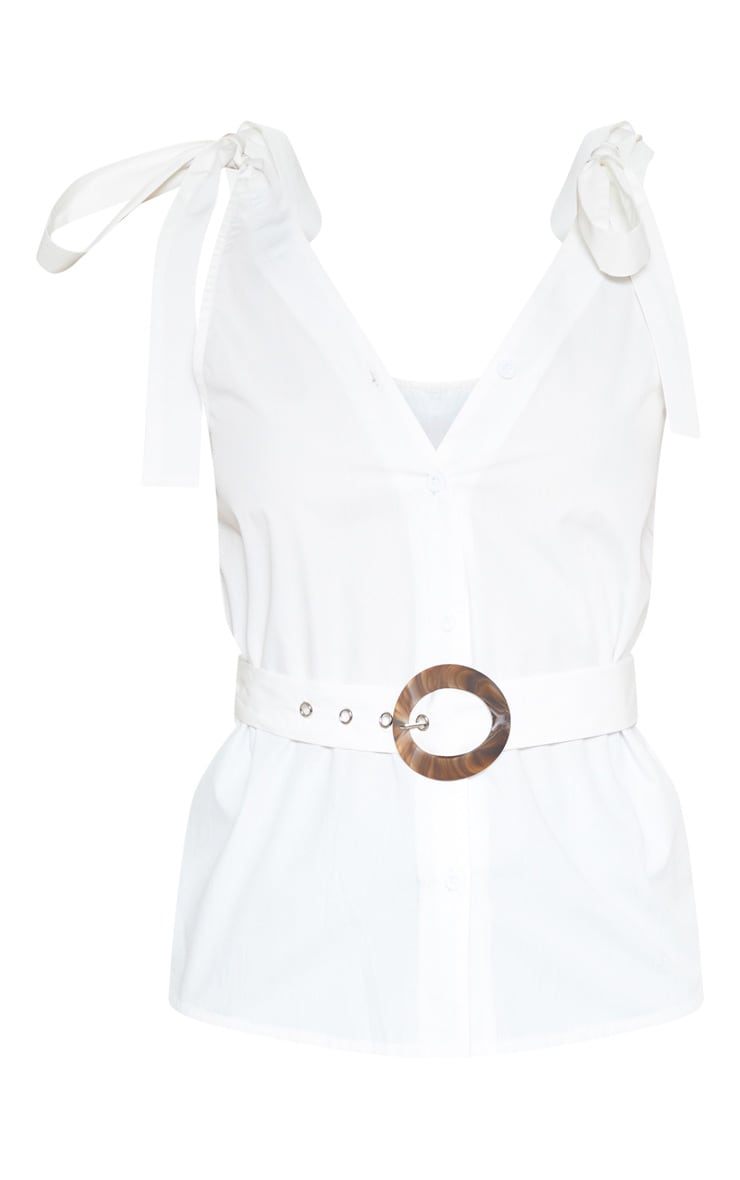 White Sleeveless Belted Button Front Top 3