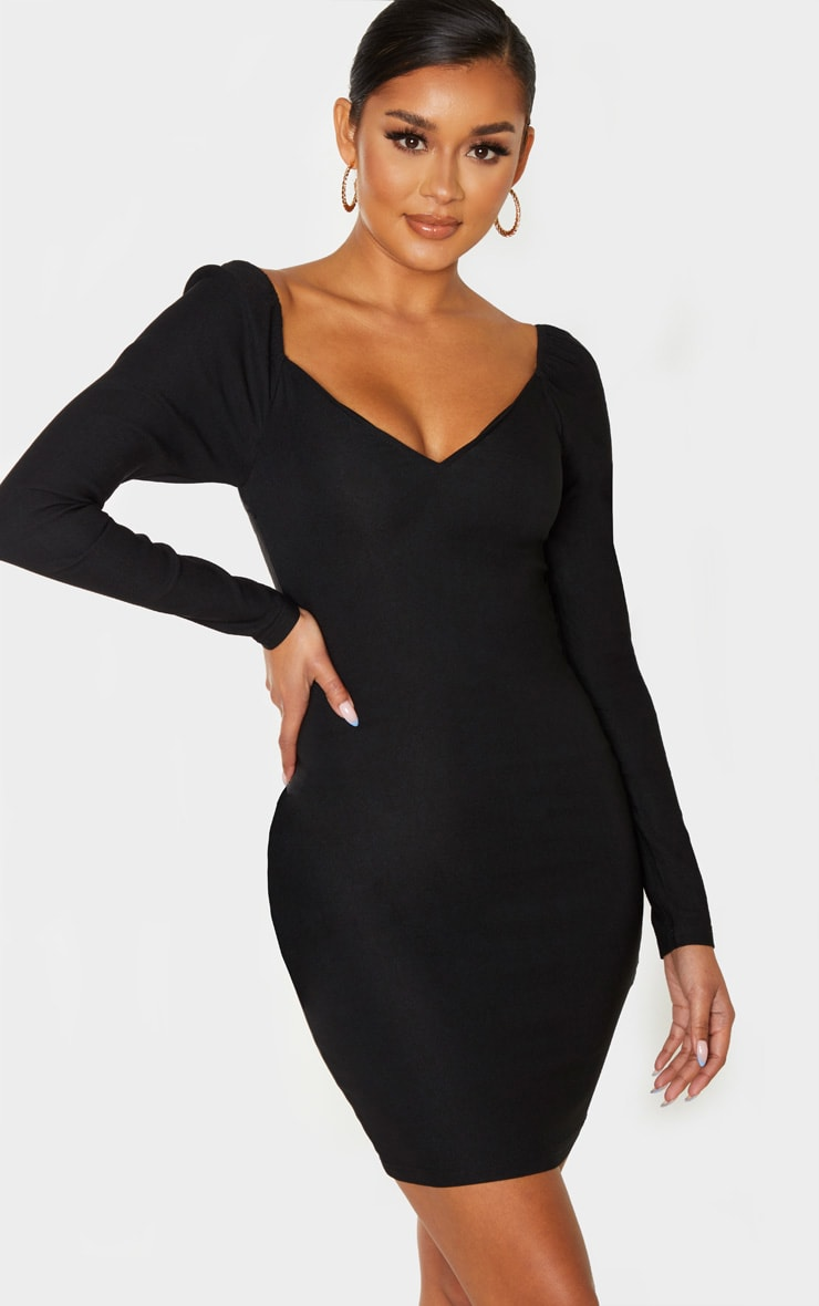 Black V Neck Puff Shoulder Bodycon Dress  1