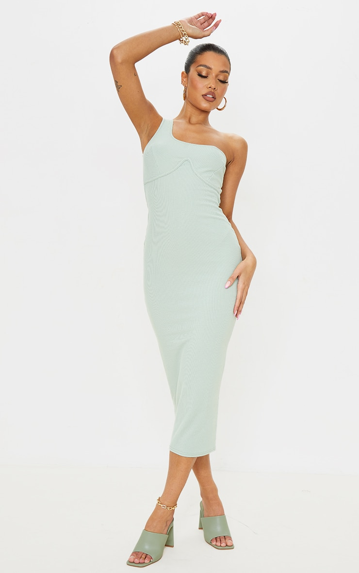 Sage Green Ribbed One Shoulder Underbust Detail Midaxi Dress