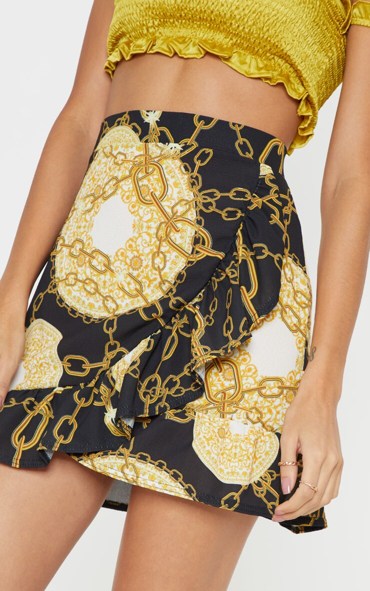 Black Chain Printed Frill Hem Wrap Mini Skirt 6