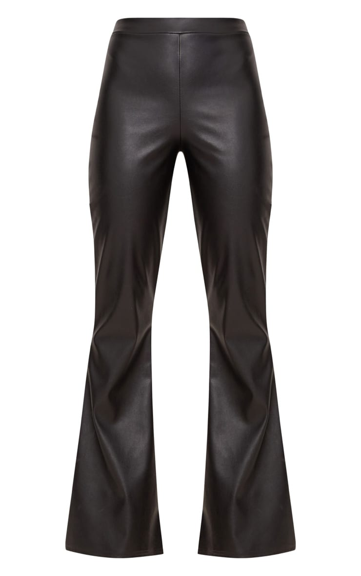 Black Faux Leather Flared Trousers 4