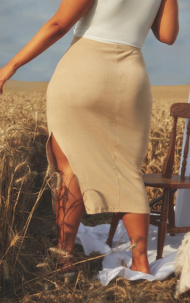 Maternity Stone Over Bump Rib Midi Skirt 3