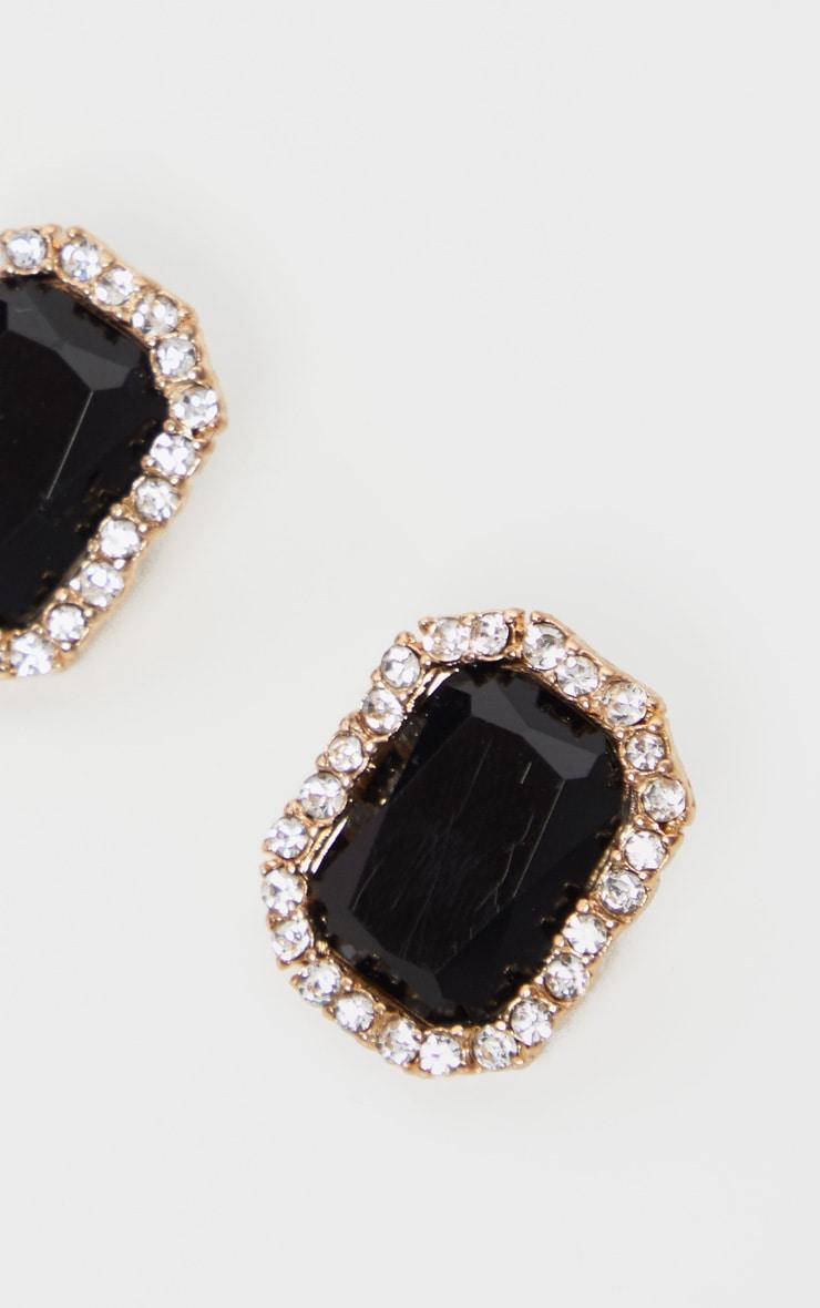 Black Crystal Diamante Border Larger Stud Earrings 3