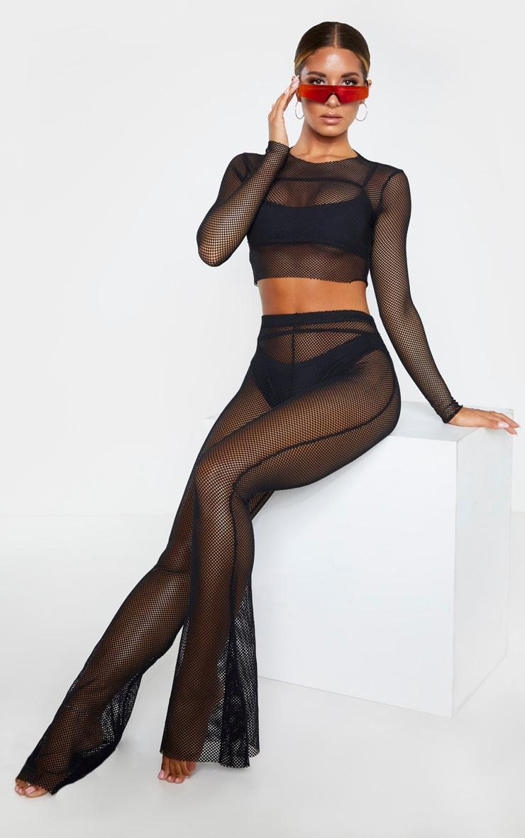 Black Fishnet Long Sleeved Crop Top 3
