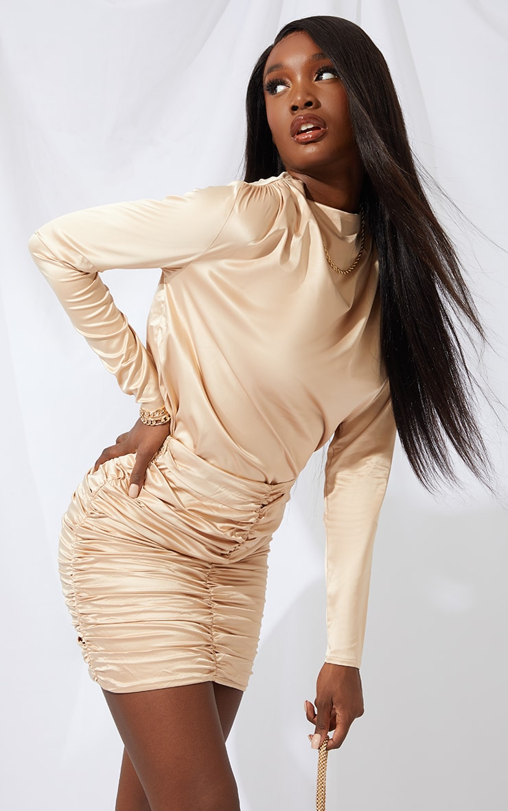 Tall Champagne High Neck Blouse 1