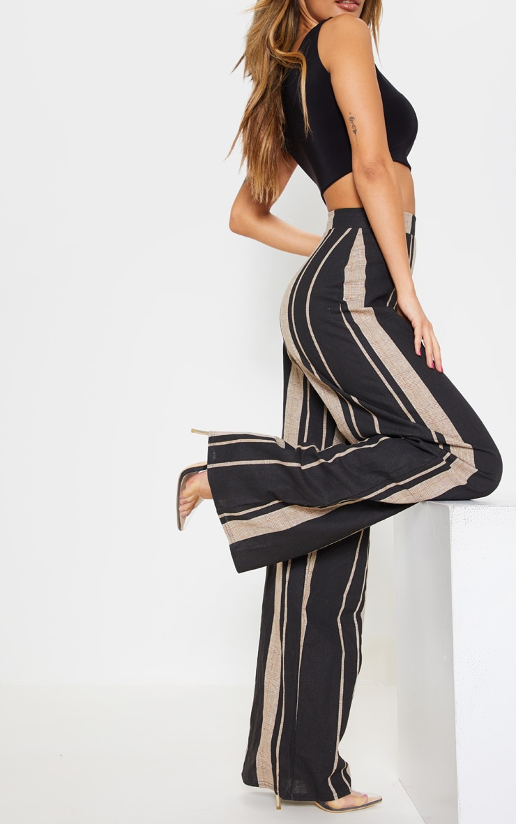 Black Woven Wide Leg Stripe Trouser 5