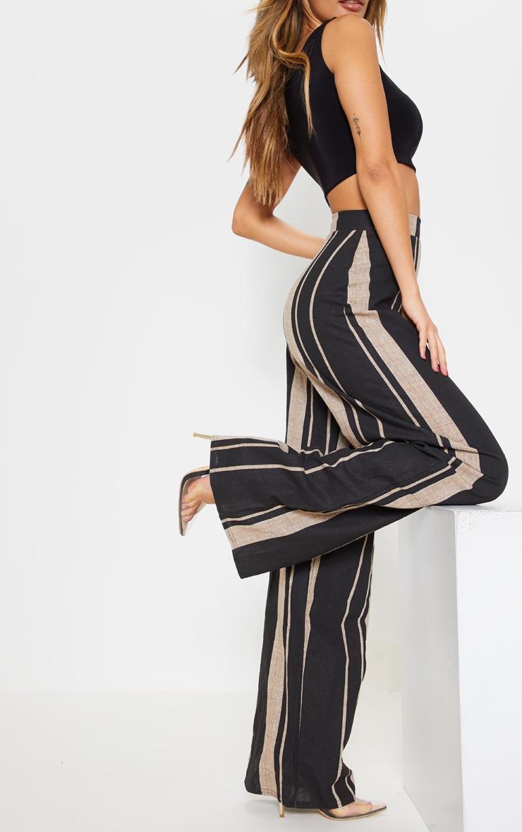 Black Woven Wide Leg Stripe Trouser 5