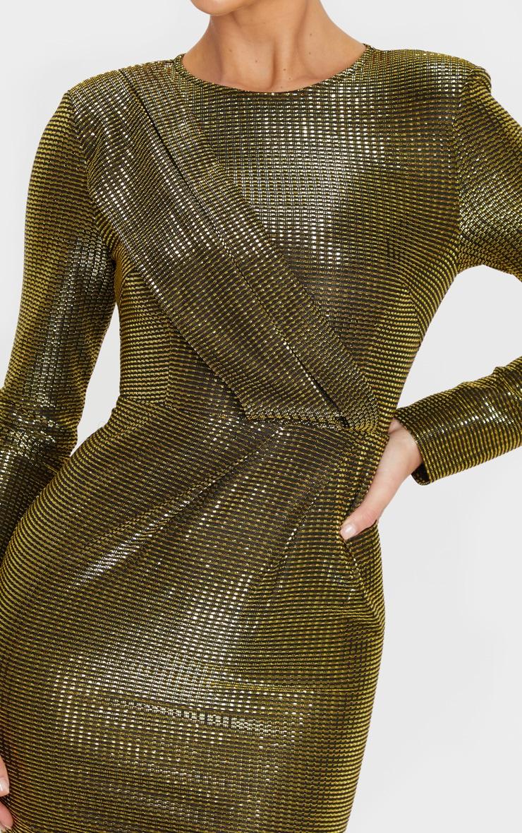 Gold Metallic Glitter Long Sleeve Drape Detail Bodycon Dress 5