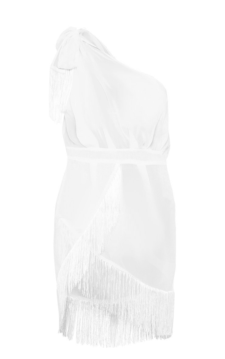White Asymmetric Fringe Beach Dress 3