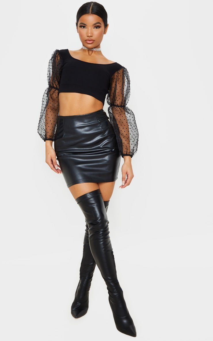 Black Rib Puff Sleeve Organza Crop Top 4