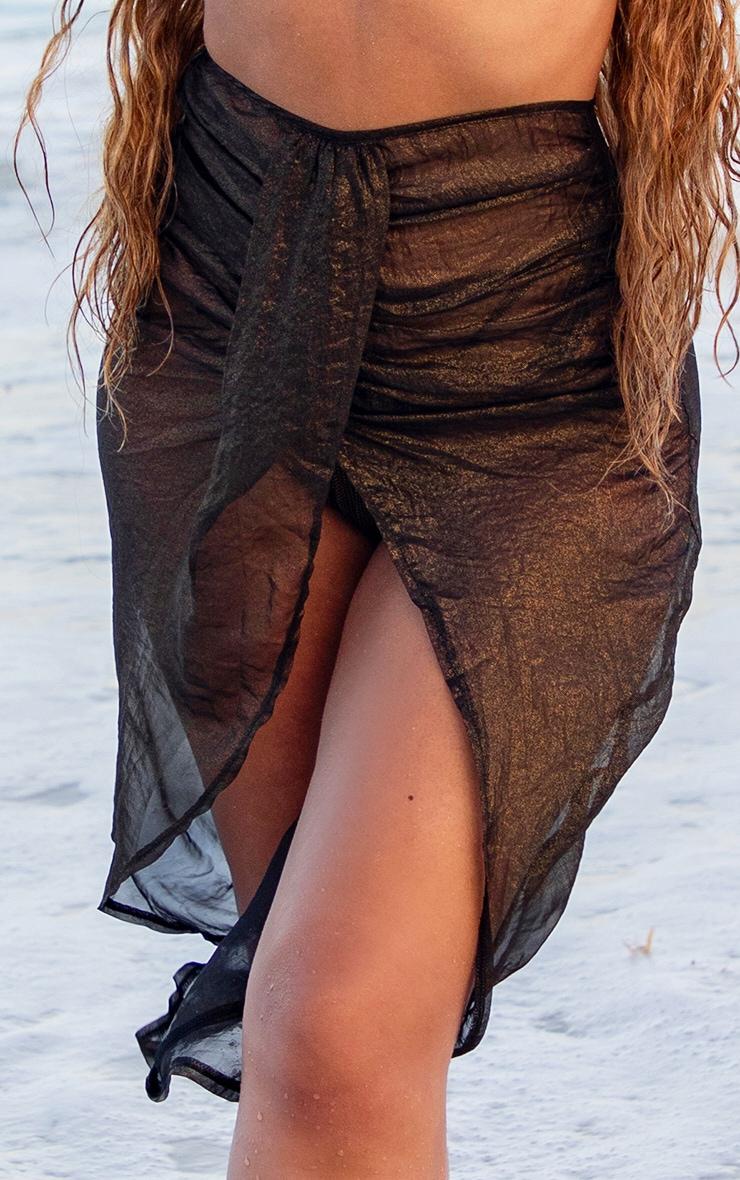 Black Metallic Split Front Beach Skirt 4