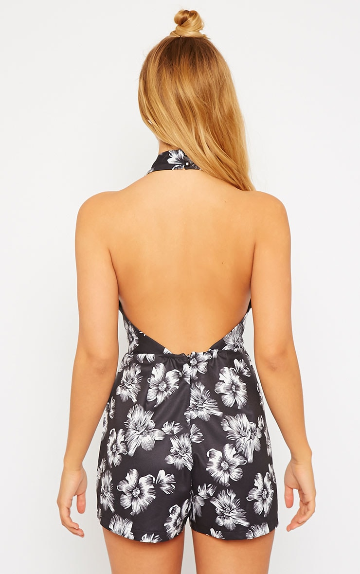Charly Floral Plunge Neck Playsuit 2
