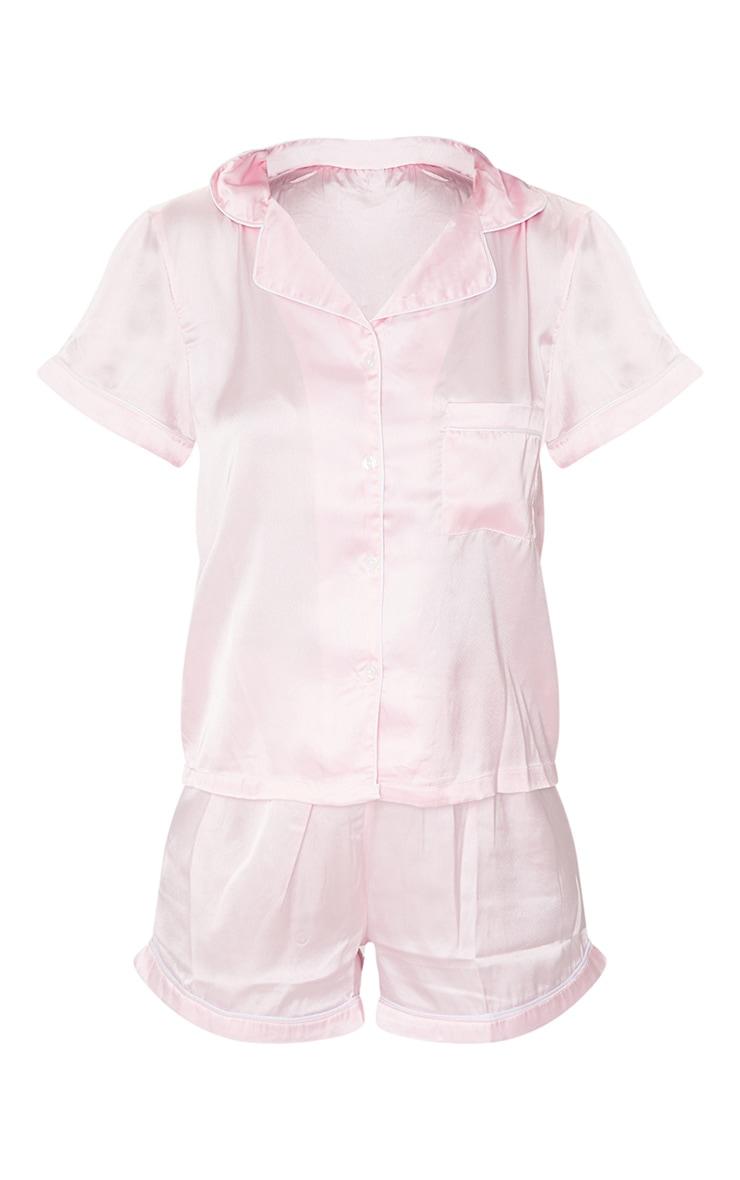 Pink With Piping Detail Satin Pocket PJ Shorts Set 5