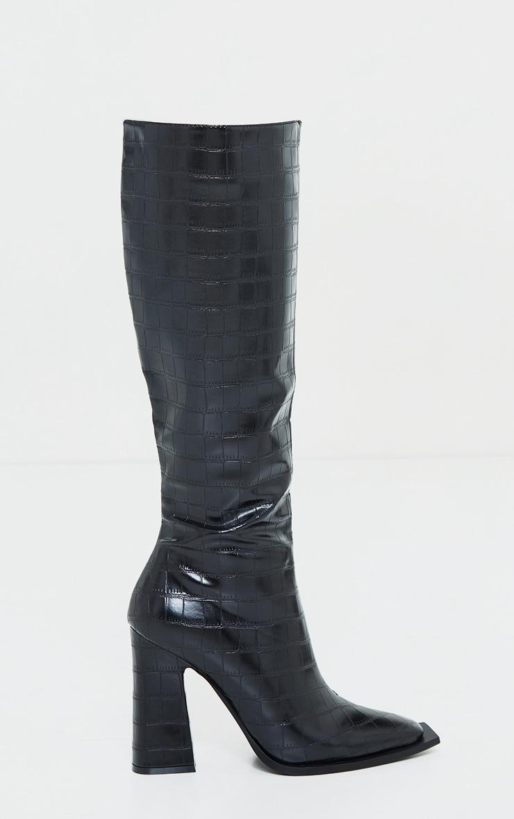 Black Croc High Block Heel Knee Boots 3