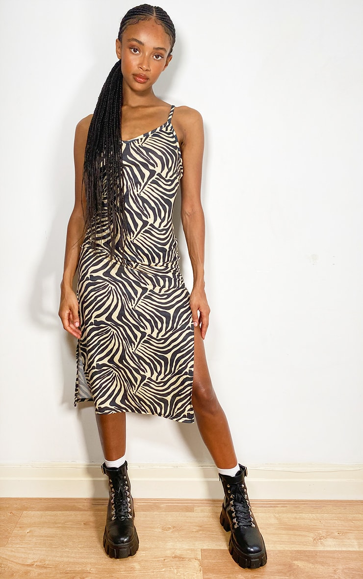 Cream Zebra Print Jersey Split Cami Midi Dress 1