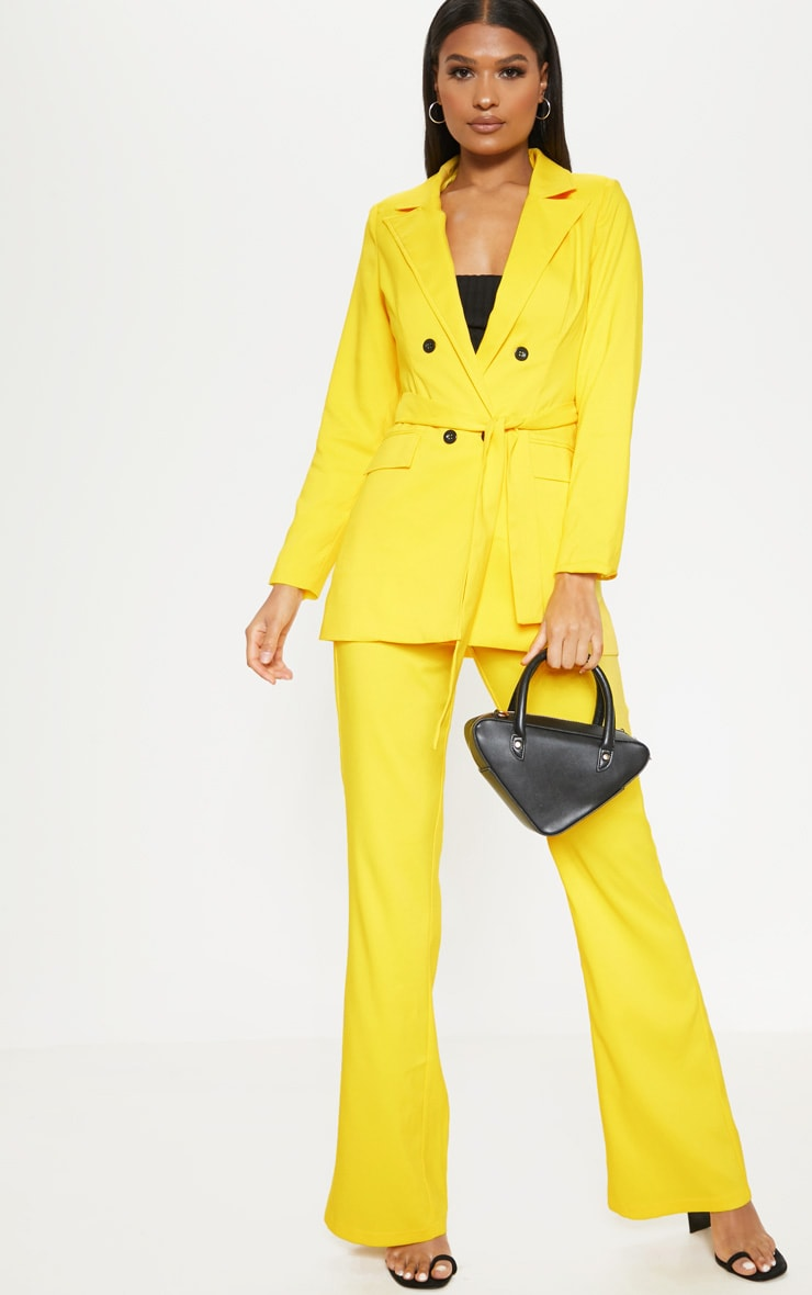 Bright Yellow Belted Long Line Woven Blazer    4