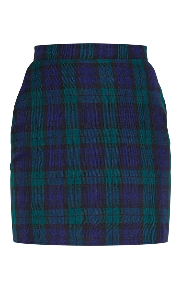 Navy Check Woven Mini Skirt 3