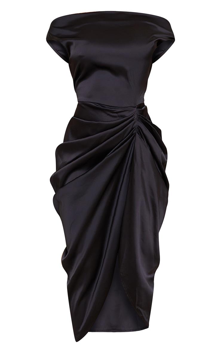 Black Satin Off The Shoulder Draped Skirt Midi Dress 5