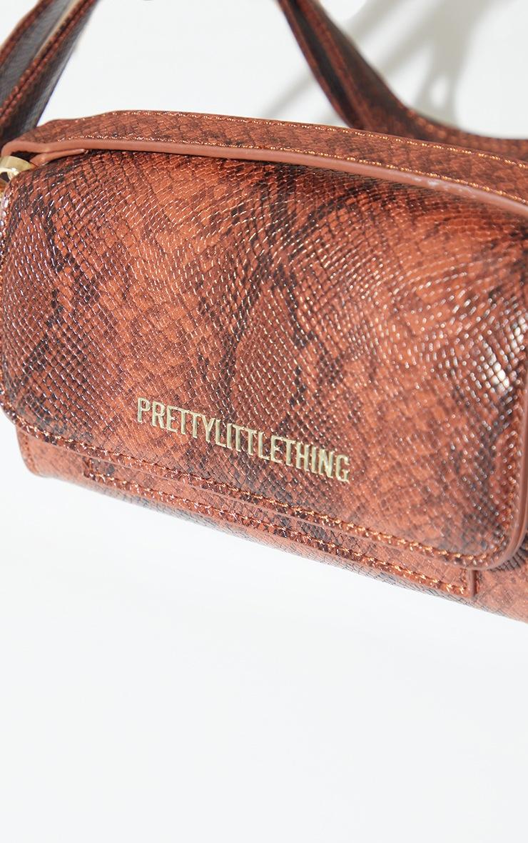 PRETTYLITTLETHING Brown Croc Grab Bag 3