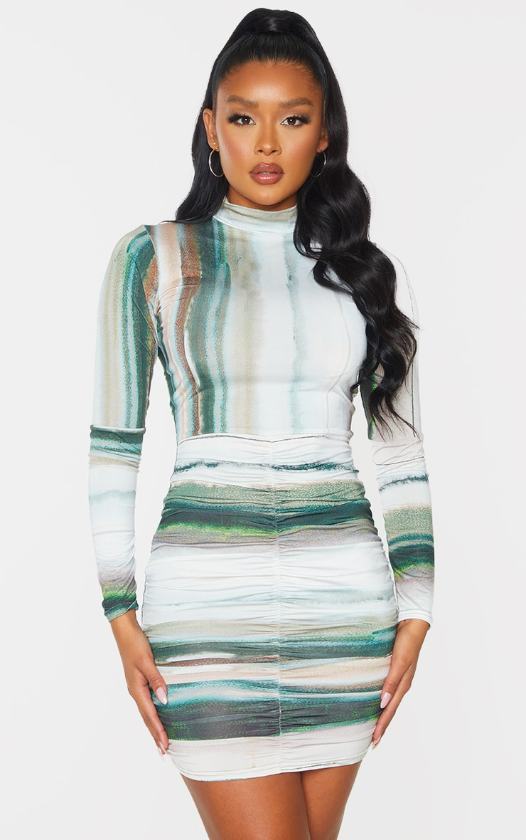 Green Printed Slinky High Neck Ruched Skirt Bodycon Dress 1