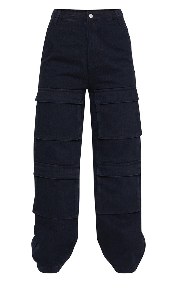 Washed Black Front Cargo Pocket Wide Leg Jeans 5
