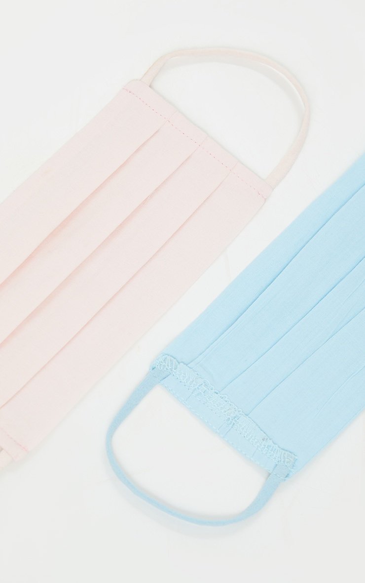 Baby Blue and Baby Pink Ruched Cotton Two Pack Face Mask 3