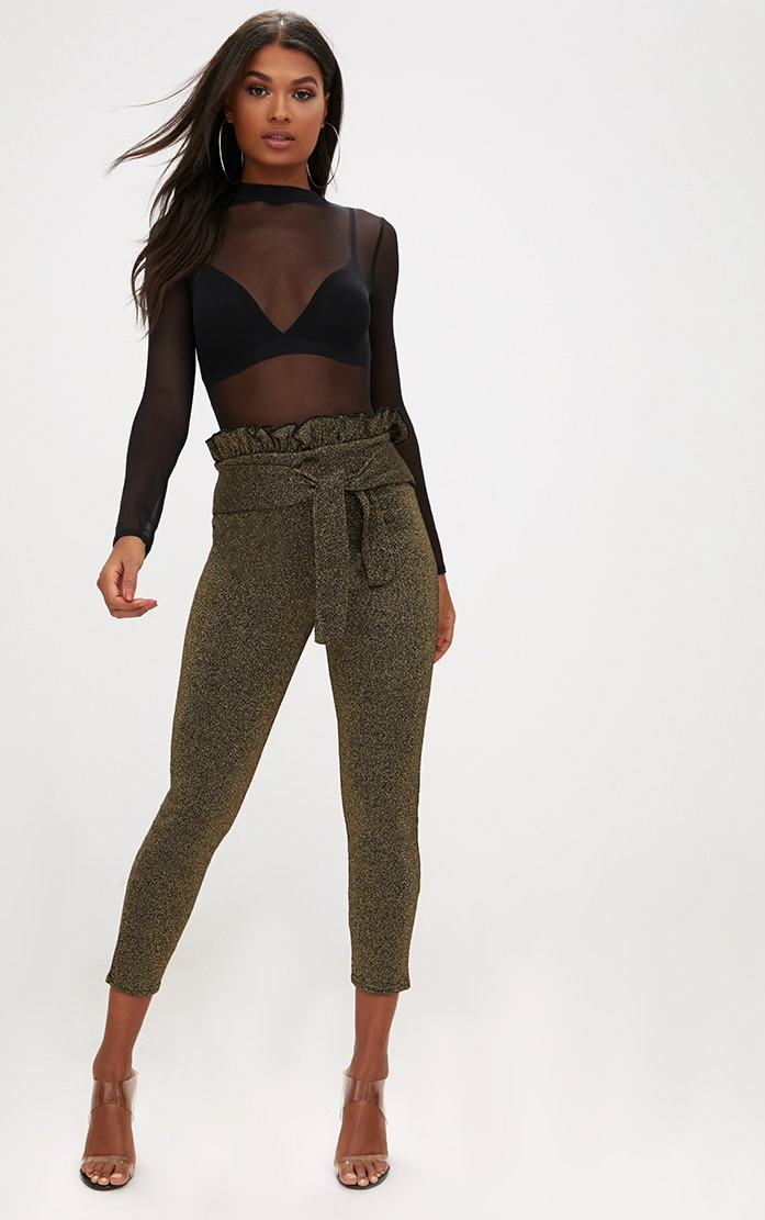 Gold Metallic Paperbag Waist Skinny Trousers 1