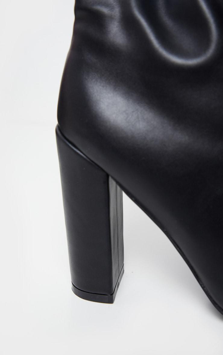 Black Slouch Block Heel Calf Boot 4