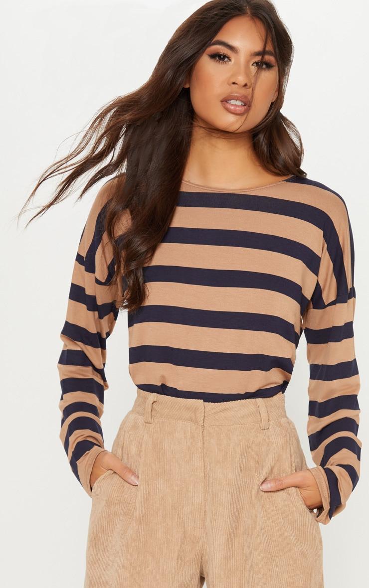 Tan Stripe Long Sleeve Top 1