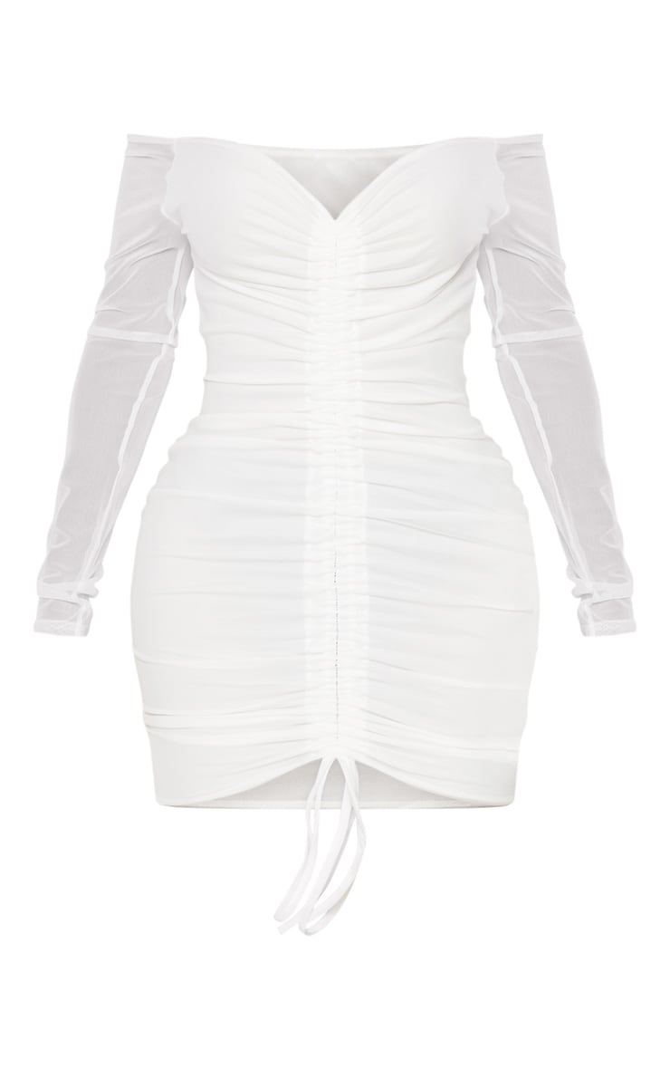 Shape - Robe moulante en mesh froncée blanc éclatant 3