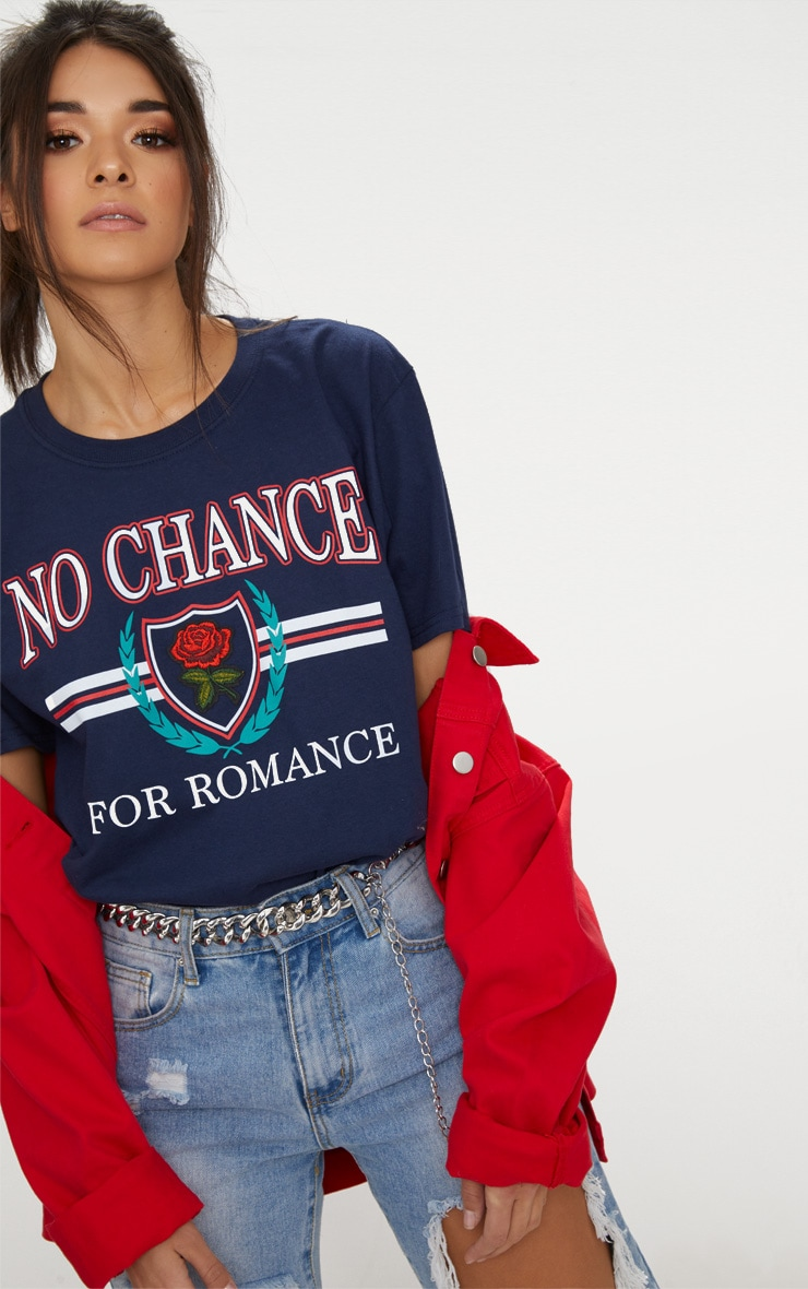 Blue No Chance Slogan Oversized T Shirt  1