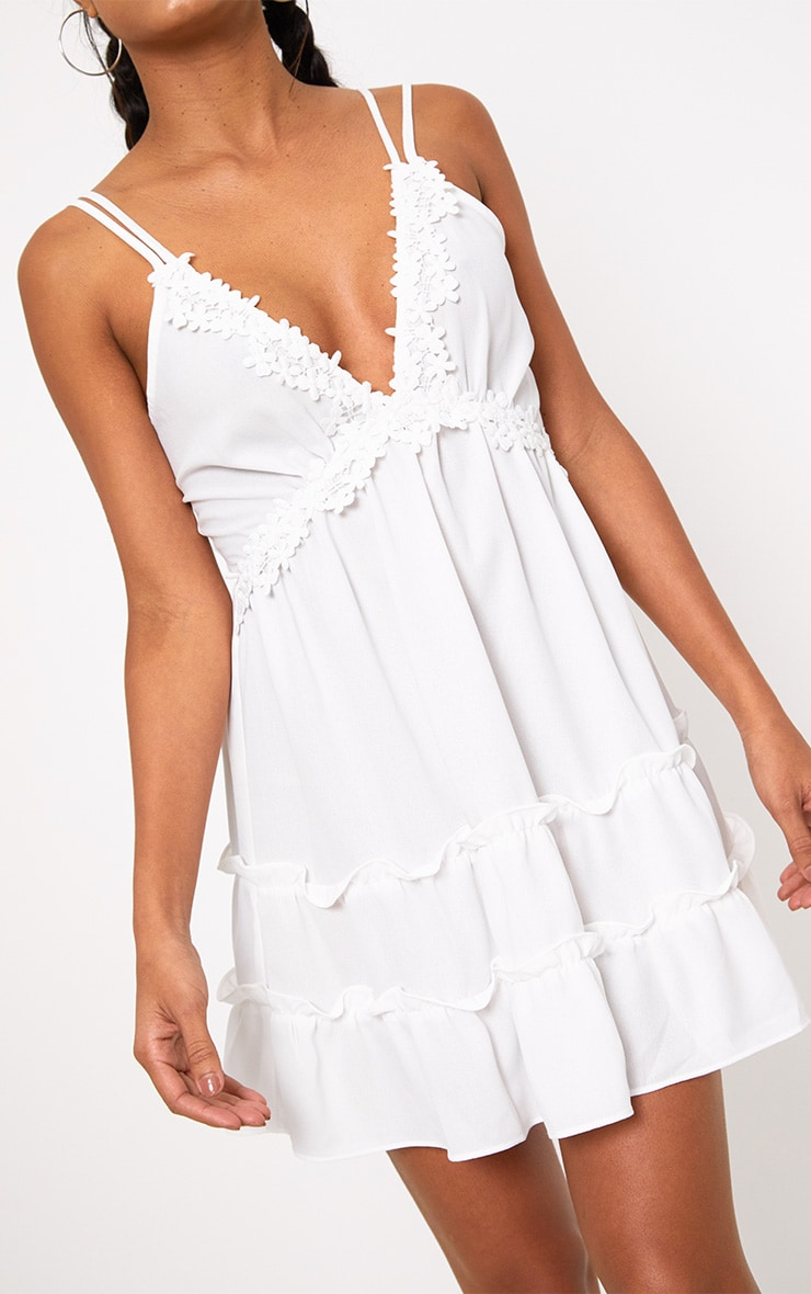 White Floral Trim Strappy Swing Dress 5