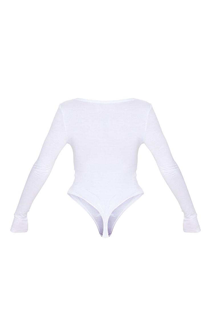 Basic White Cotton Blend Plunge Long Sleeve Bodysuit 6