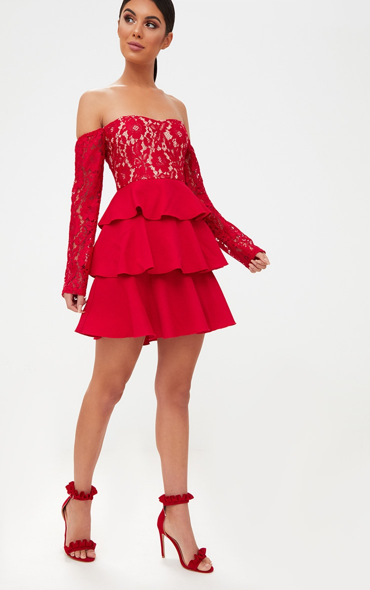Red Lace Top Frill Detail Skater Dress  4