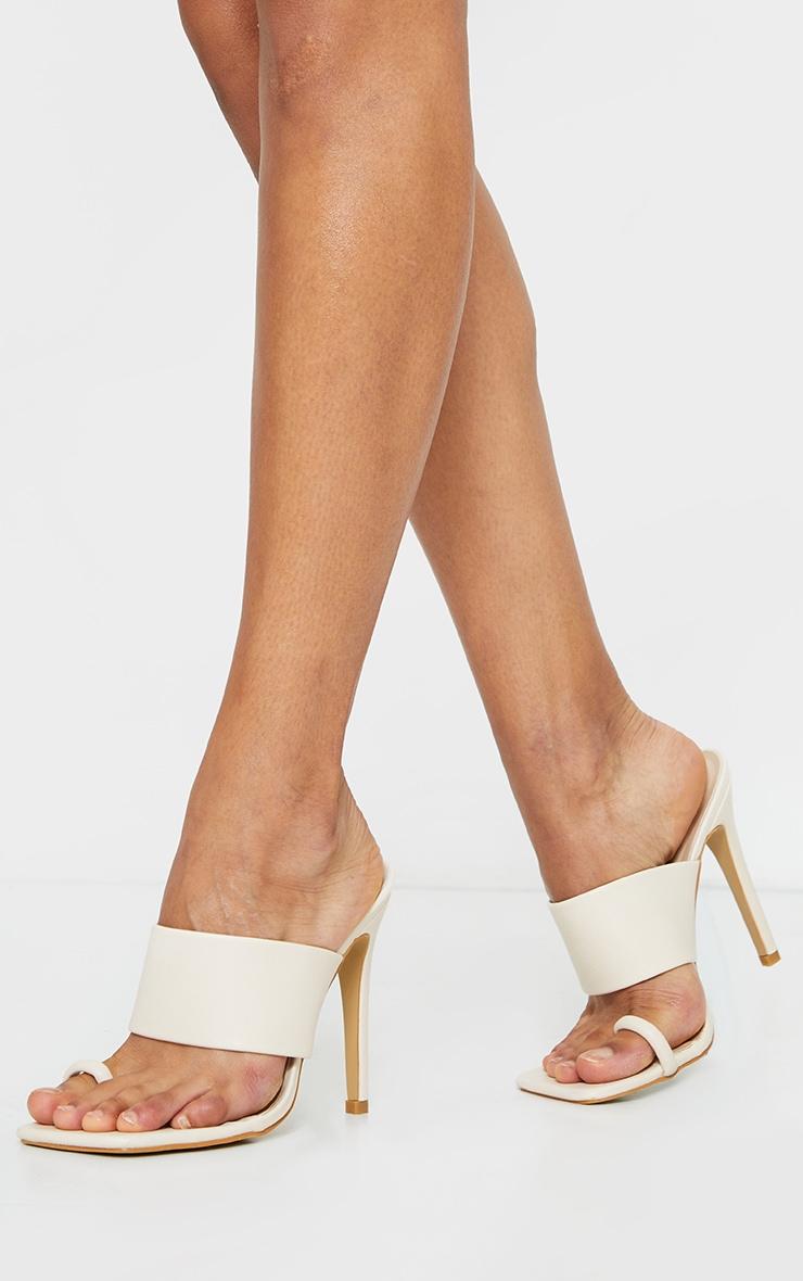 Cream Square Toe Loop High Heel Mules 1