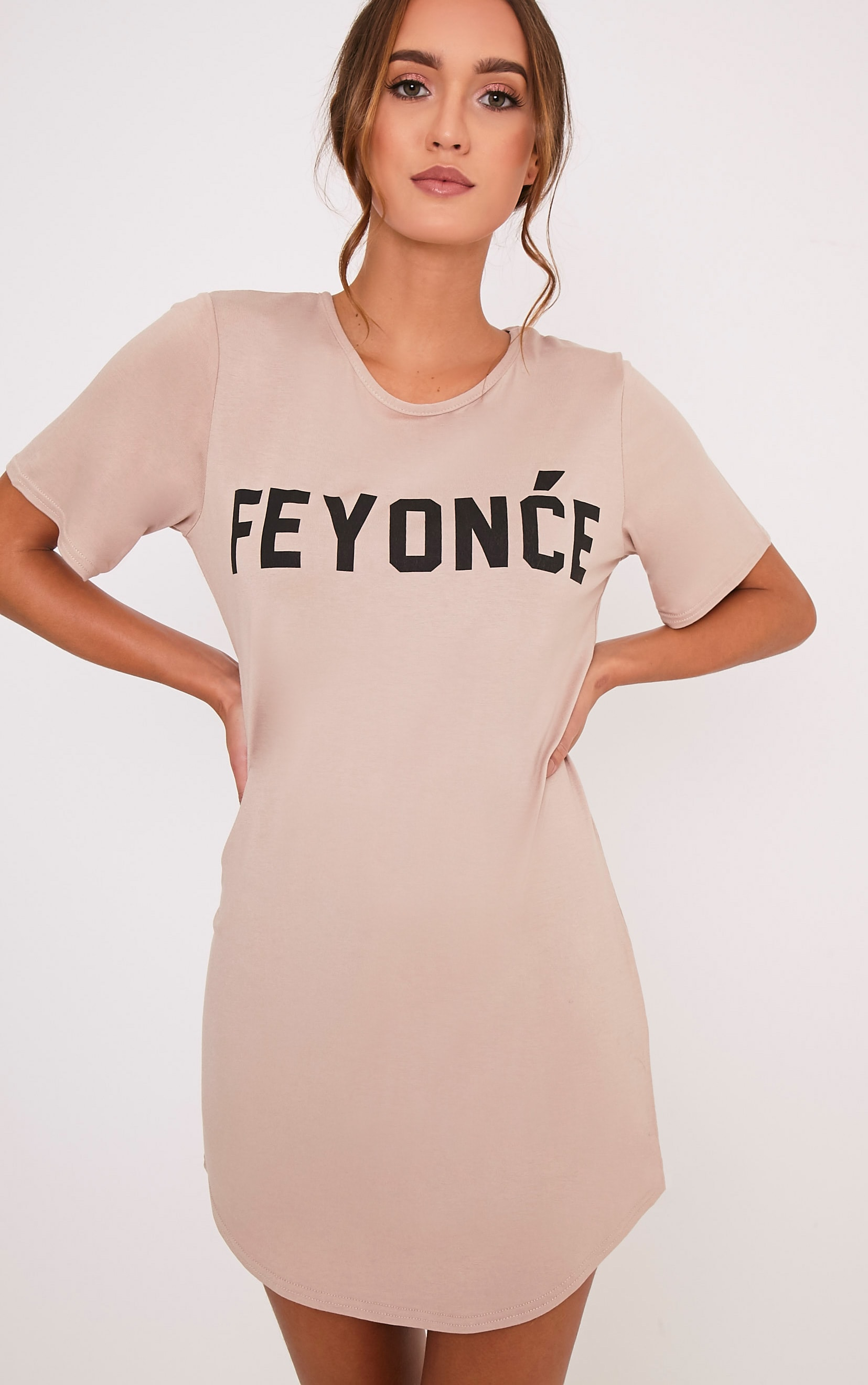 Feyonce Nude Slogan Oversized Nightie 1
