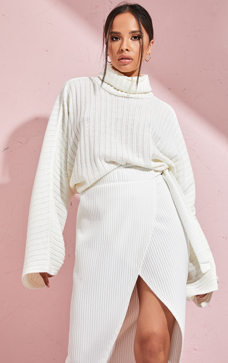 Cream Ribbed Knit High Neck Sweater  1
