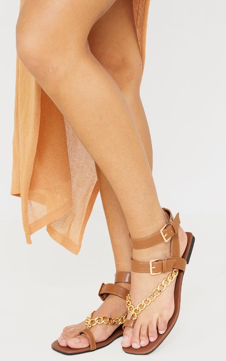 Tan Toe Loop Chunky Chain Square Toe Sandals 2