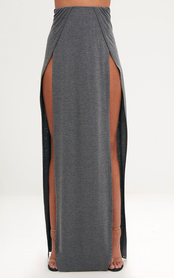 Grey Double Split Maxi Skirt 2