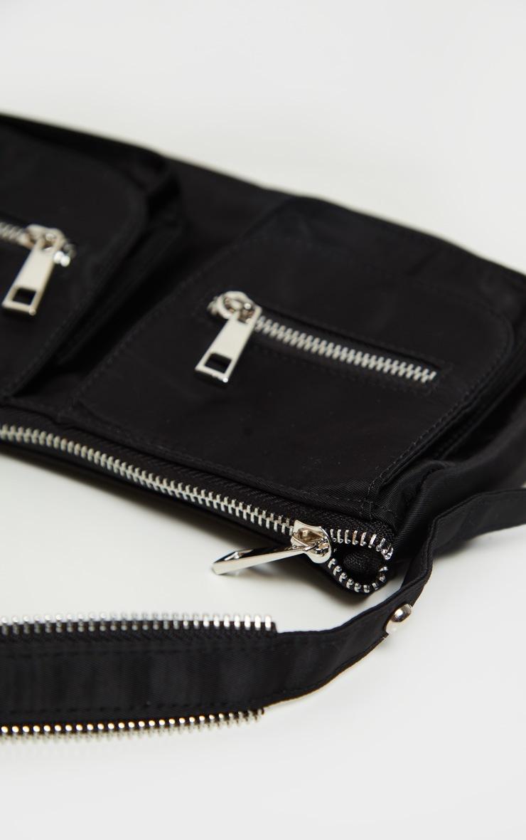 Black Nylon Double Pocket Shoulder Bag 3