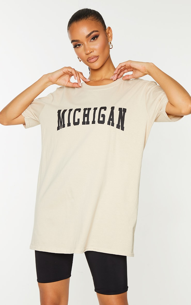 Sand Michigan Slogan Printed T Shirt 1