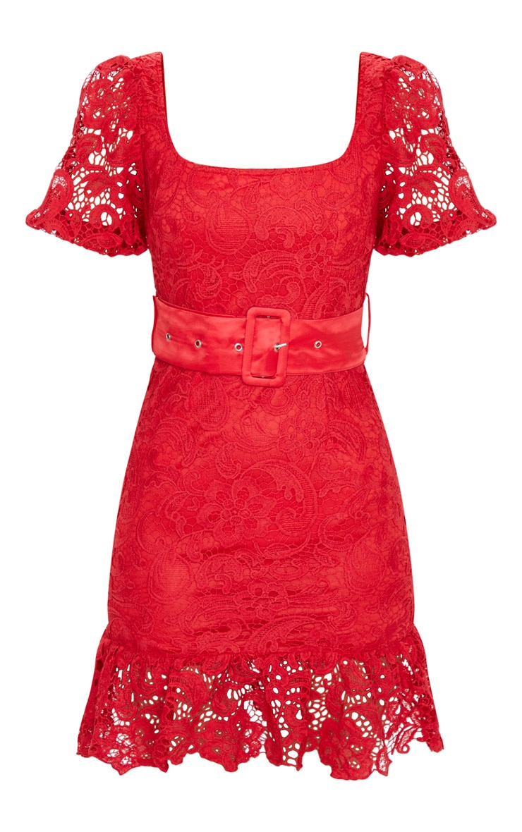 Red Lace Belted Puff Sleeve Bodycon Dress 3