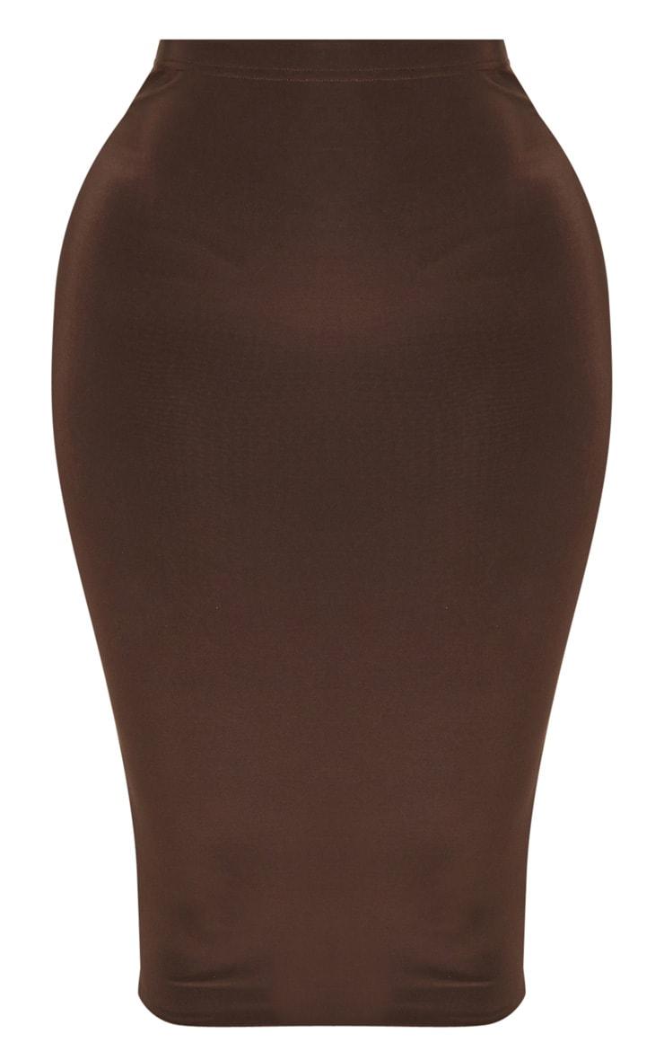 Shape Chocolate Slinky High Waist Midi Skirt 3