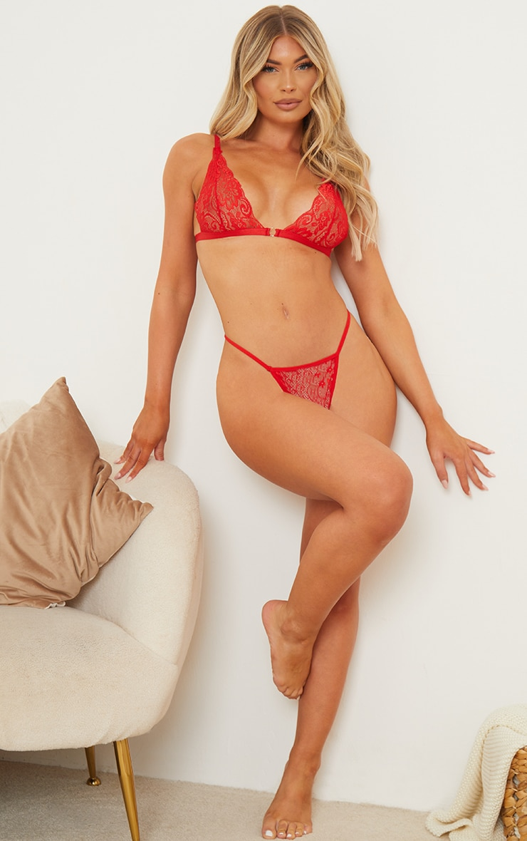 Red Basic Lace G String Thong 3
