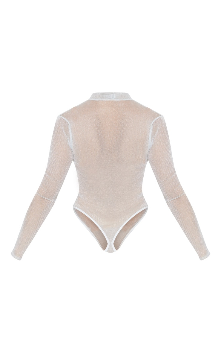 Silver Sheer Glitter High Neck Bodysuit  4