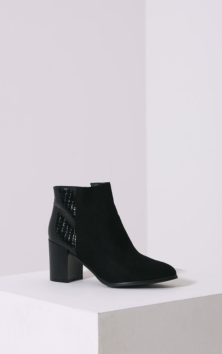 Kimi Black Croc Patent Heel Suede Boots 3