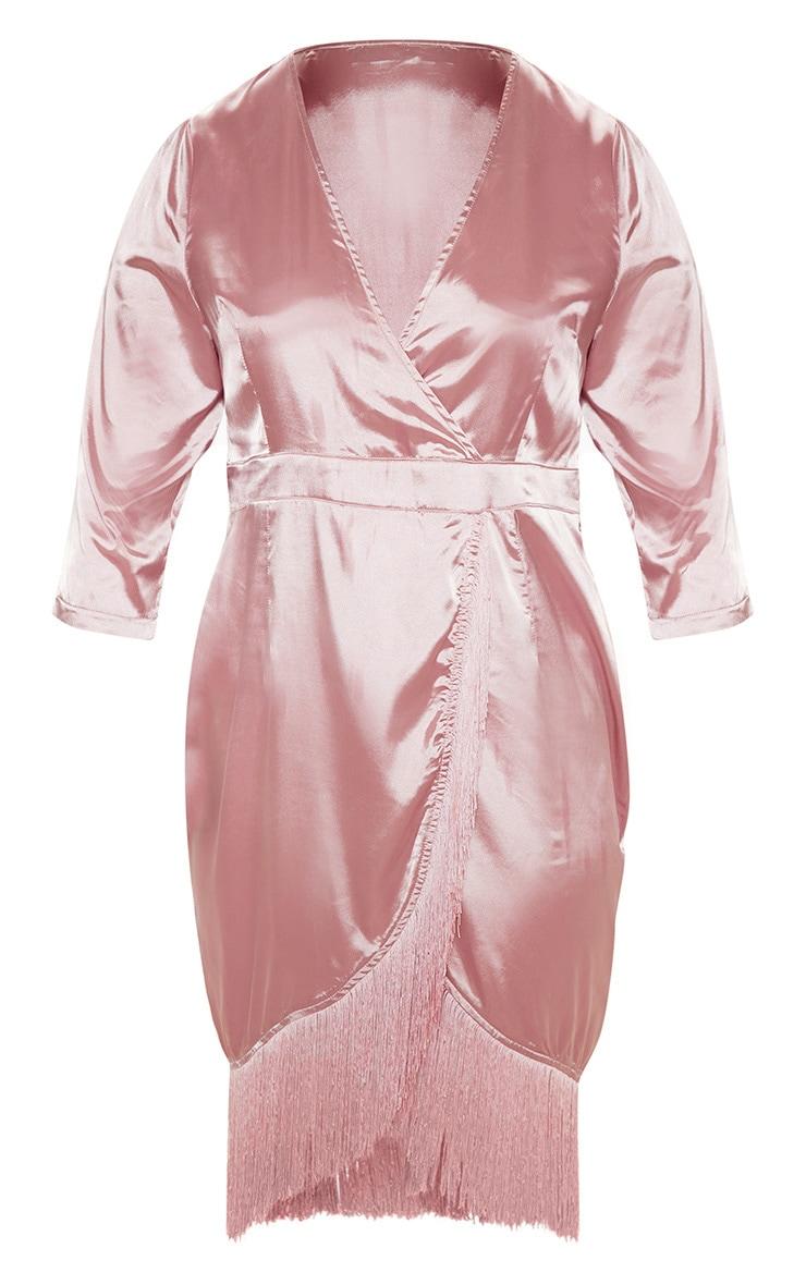 Plus Dusty Pink Satin Wrap Tassel Hem Midi Dress 3