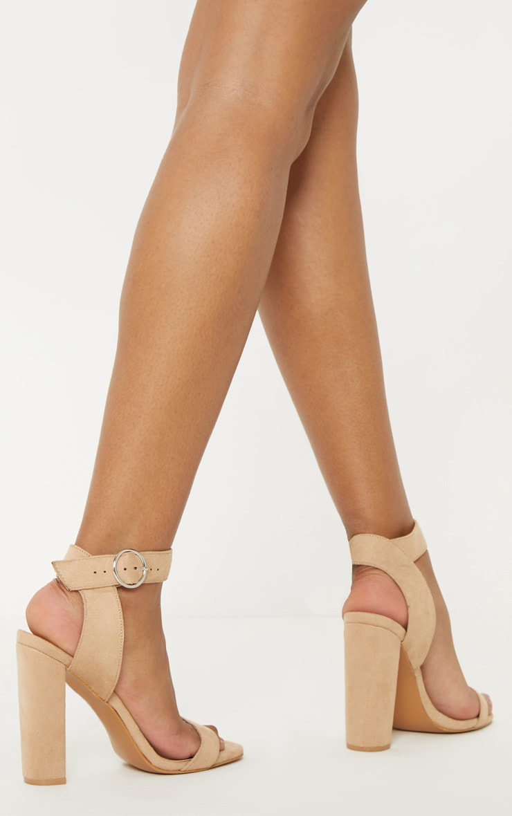 Nude Ring Buckle Block Heel Sandal 2